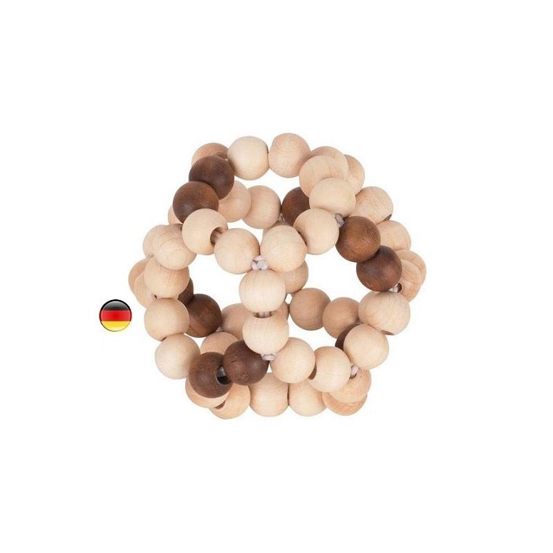 Hochet balle flexible en bois naturel, jouet ecologique et ethique Heimess