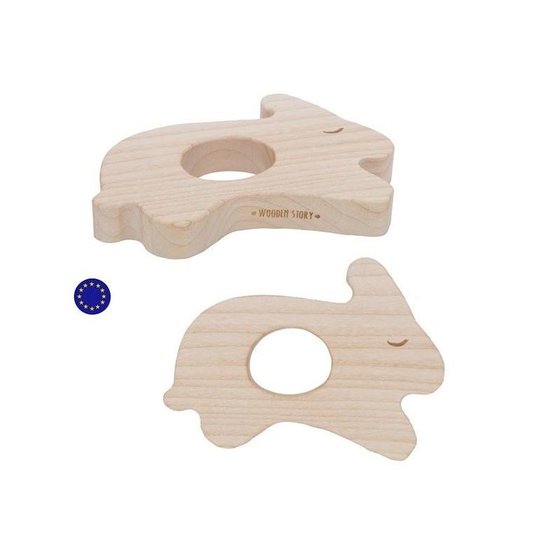 Anneau de dentition en bois naturel Lapin rabbit, jouet ecologique steiner montessori wooden story