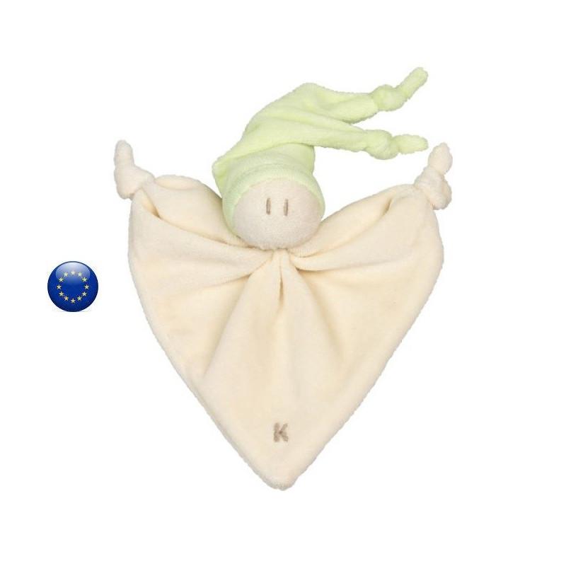 Doudou Nicky toddle citron vert, lapin pour bébé en coton bio Keptin Jr