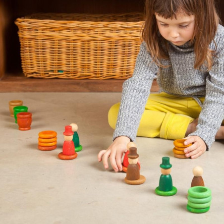 Nins® des saisons et anneaux : automne, jouet libre en bois ecologique et ethique grapat