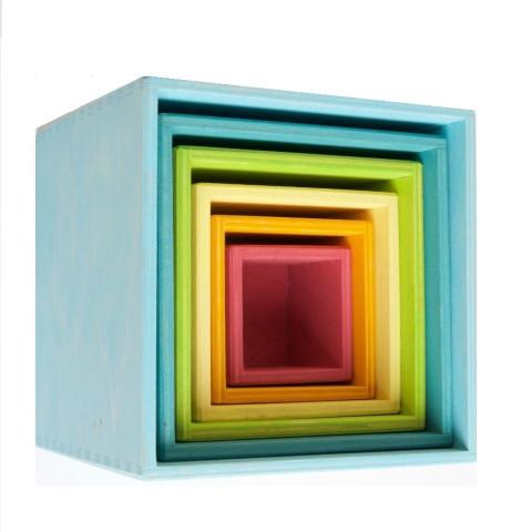 Cubes, boites gigognes pastel à empiler grand modèle, jouet en bois Grimm's