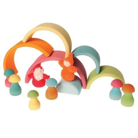 Jeu de tri, champignons pastel, jouet en bois montessori, Grimm's