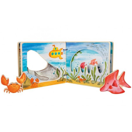 Livre d'images interactif en bois pour bébé, la mer de Legler small foot