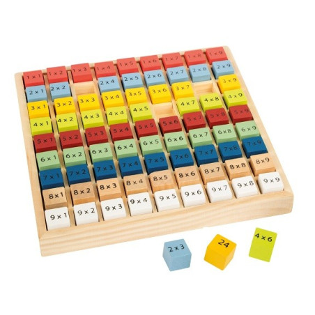 Table de multiplication, jeu d'apprentissage en bois