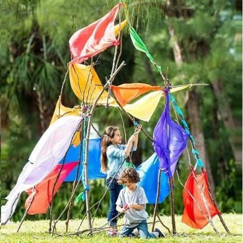Stick-lets hexa, lot de 6, fixation de jeu , assembler branches et baton pour cabane, tipi...