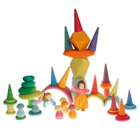 Forêt pastel, cones arbres loose parts, jouet en bois libre ecologique  Grimm's