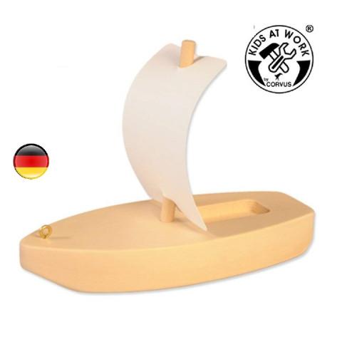 Bateau à voile, voilier jouet en bois pour le bain et la mer, steiner waldof et corvus