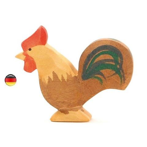 Figurine coq brun en bois Ostheimer
