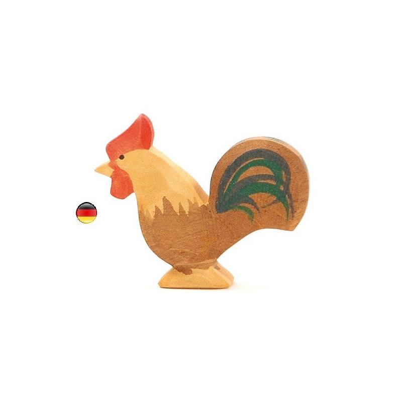 coq marron brun, figurine jouet en bois, jeu steiner waldorf de ostheimer