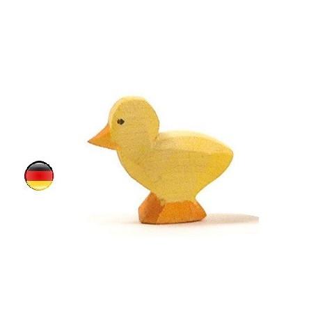 poussin jaune clair, figurine jouet en bois, jeu steiner waldorf de ostheimer