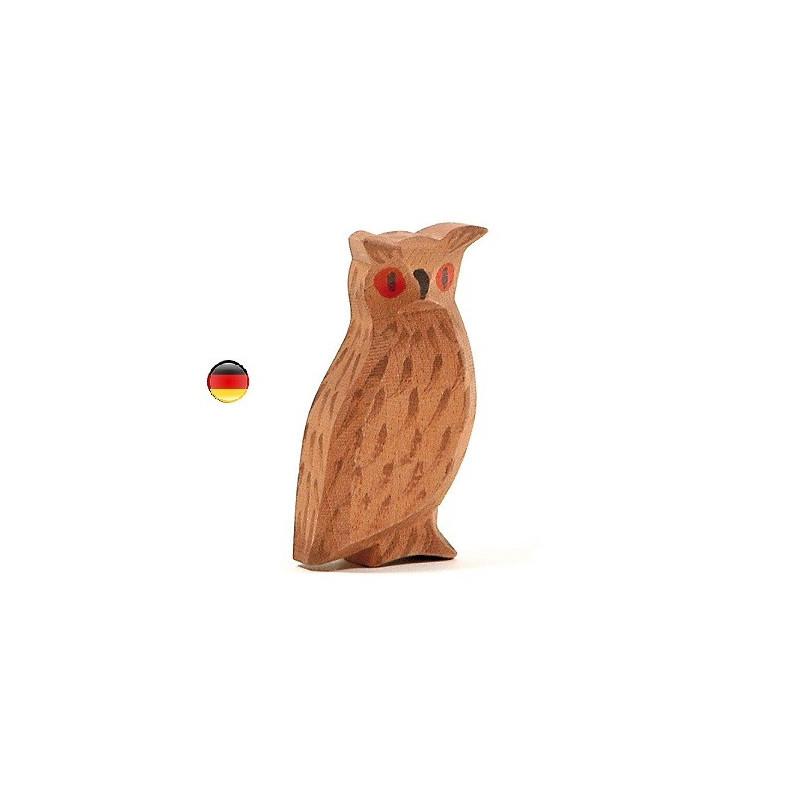 Hibou grand duc, figurine jouet en bois, jeu steiner waldorf de ostheimer
