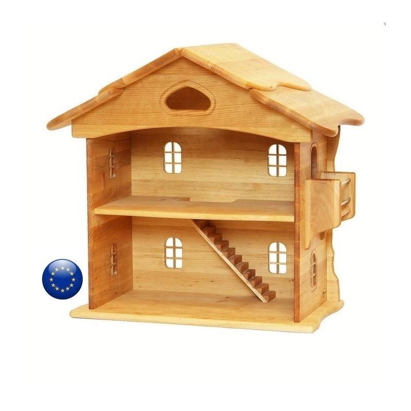 Maison de poupée en bois massif waldorf