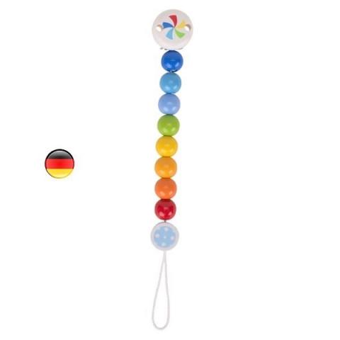 clip accroche tétine en bois coloré ecologique, attache doudou confetti de heimess