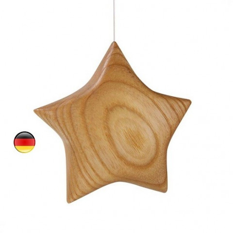 suspension étoile galbée en bois noble poli, pour table saison waldorf steiner wald fabrik