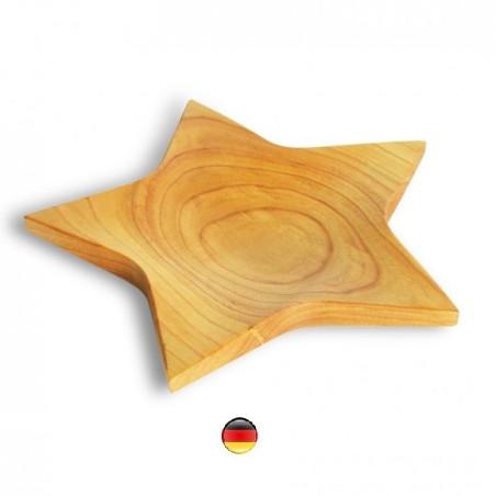 Etoile, plat assiette en bois huilé