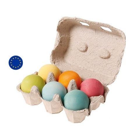 Boules pastel en bois, boite de 6 balles,  jouet ecologique et ethique Grimms
