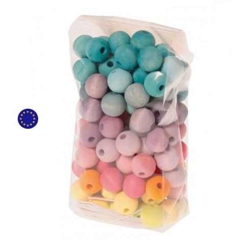 120 perles pastel en bois à enfiler, 10 mm jouet en bois ethique Grimm's