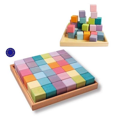 Cubes Mosaïque pastel en bois, jeu de construction d'eveil en bois steiner montessori Grimm's