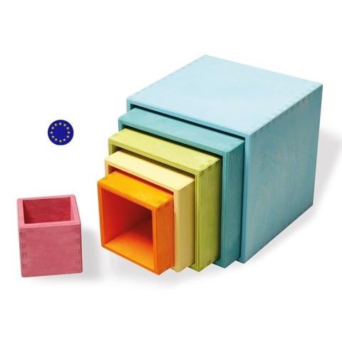 Cubes, boites gigognes pastel, grand modèle Grimm's