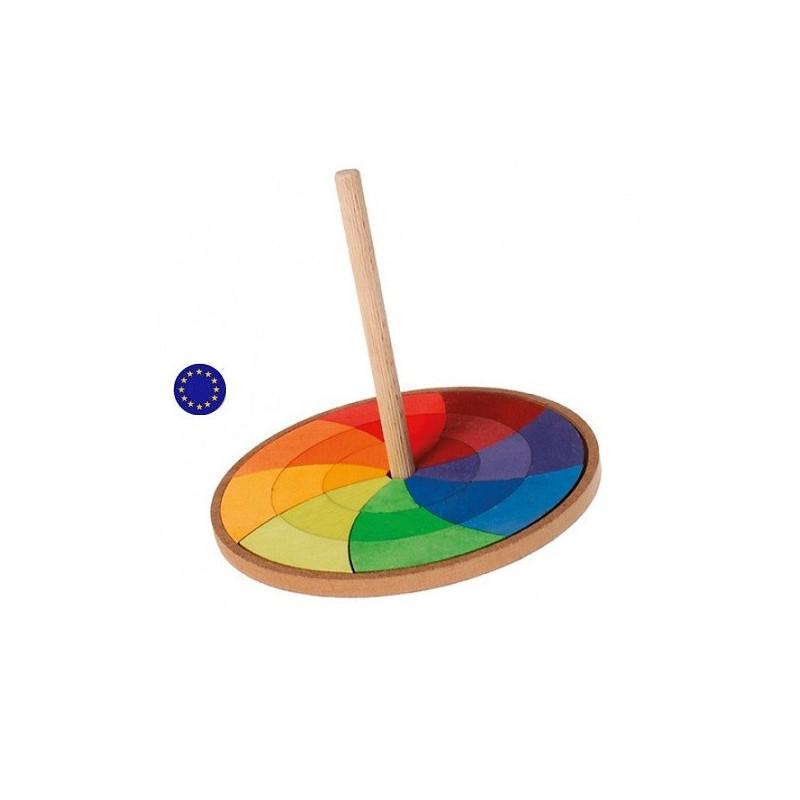 Toupie puzzle, cercle de goethe jouet en bois, spinning Grimm's