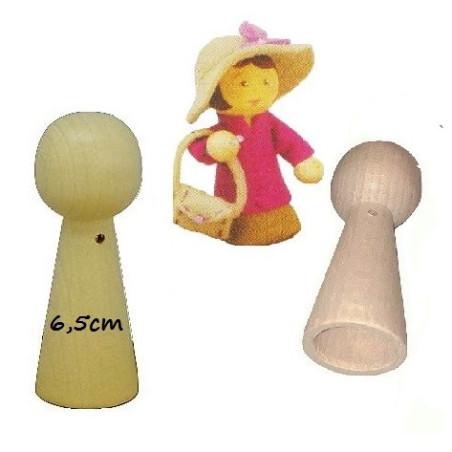 Pion poupée en bois, creux, 6.5cm