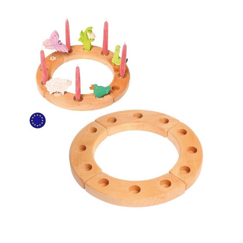 Cercle couronne d'anniversaire en bois naturel, Grimm's