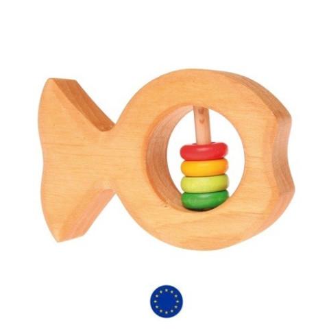 Hochet poisson en bois naturel, anneau dentition jouet ecologique waldorf, Grimm's
