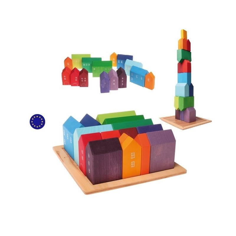 Maisons, jeu de construction en bois , jouet waldorf ecologique et ethique Grimm's