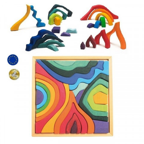 Puzzle 4 éléments, jeu de construction en bois  Grimm's