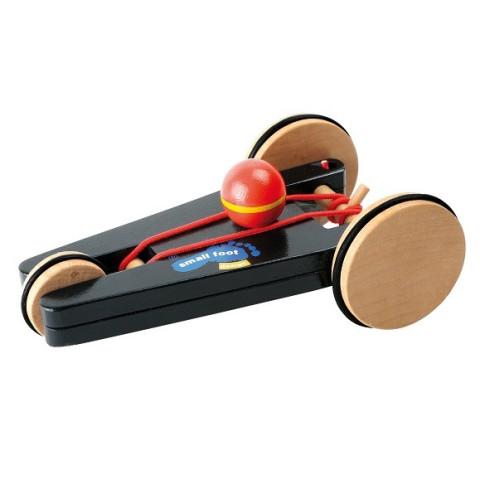 Voiture à remonter 3 roues, propulsion élastique, jouet en bois small foot design legler