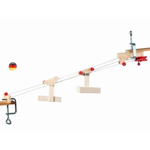 kit Télépherique 2 cabines, funiculaire jouet en bois steiner waldorf de Kraul