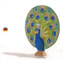 Paon, figurine animal de la ferme en bois, jouet ecologique waldorf steiner ostheimer