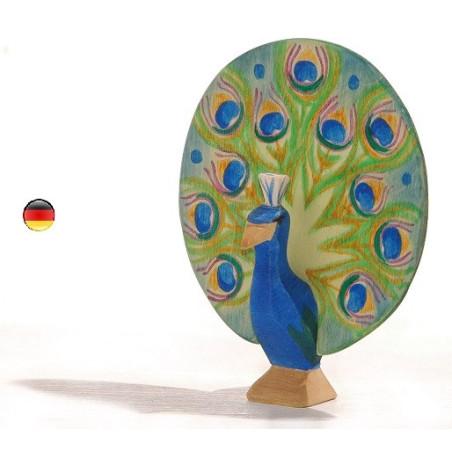 Figurine Paon, animal en bois