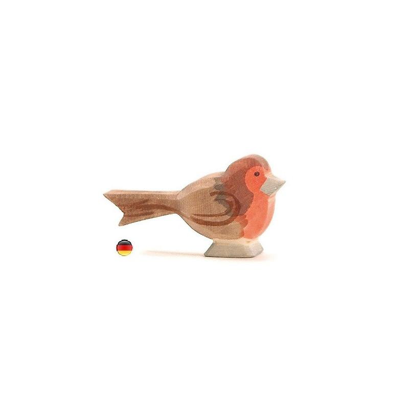 Figurine rouge gorge, oiseau jouet en bois ecologique steiner waldorf, Ostheimer
