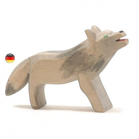 Loup, figurine en bois Animaux de la foret, jouet en bois Ostheimer