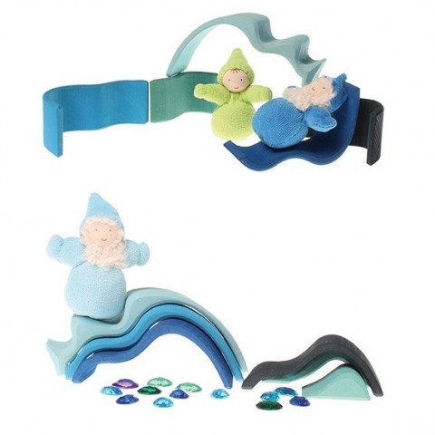 Eau, eau, vagues à empiler, jouet en bois à encastrer ou table saison steiner waldorf  Grimm's