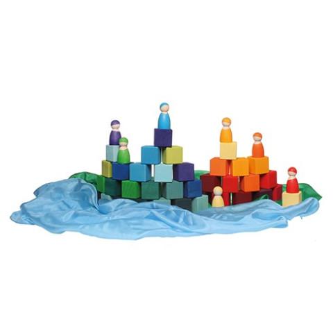 Cubes Mosaïque, jeu de construction d'eveil en bois steiner montessori Grimm's
