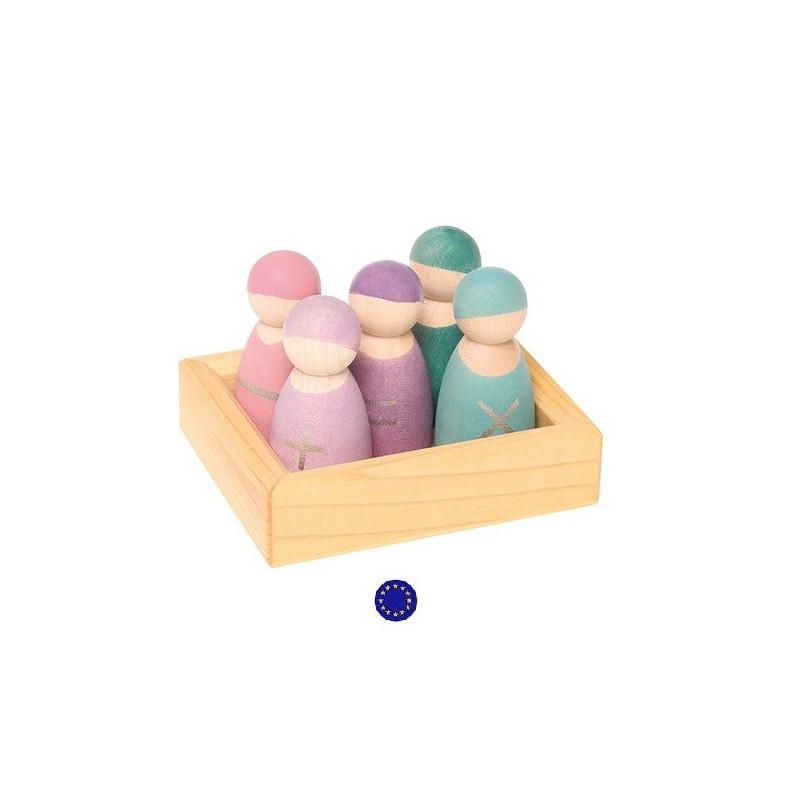 5 amis des maths bonhommes operations pour calcul, jouet en bois Grimm's