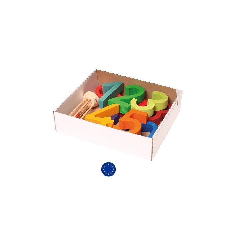 gros chiffres en bois, jeu de construction et d'apprentissage du calcul Grimm's