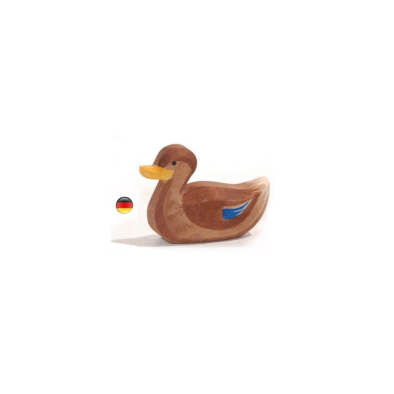Figurine canard nageant, cane animal, jouet en bois waldorf de Ostheimer