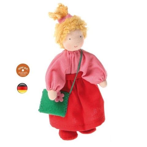 Poupée articulée fille blonde, mini poupée flexible waldorf Grimm's