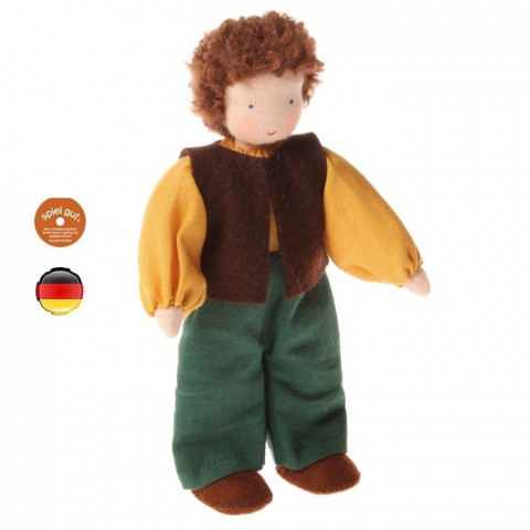 Poupée articulée papa garçon brun, mini poupée flexible waldorf Grimm's
