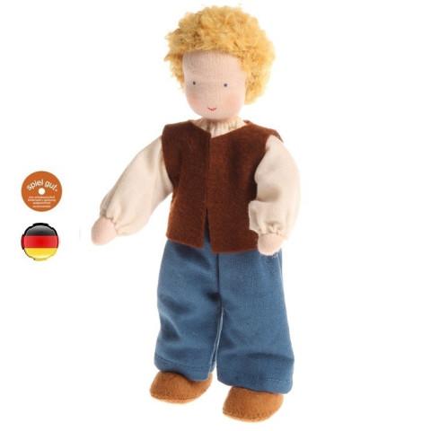 Poupée articulée papa garçon blond, mini poupée flexible waldorf Grimm's