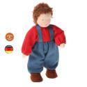 Poupée articulée garçon brun, mini poupée flexible waldorf Grimm's