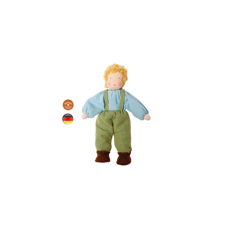 Poupée articulée garçon blond, mini poupée flexible waldorf Grimm's