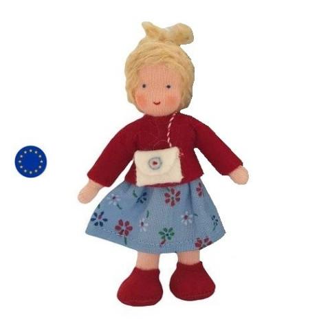 Poupée articulée fille blonde, mini poupée flexible waldorf ambrosius