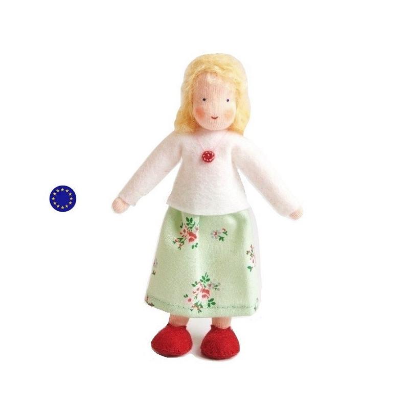 Poupée articulée maman blonde, mini poupée flexible waldorf ambrosius