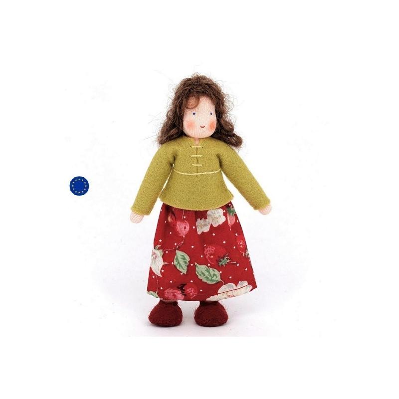 Poupée articulée maman brune, mini poupée flexible waldorf ambrosius