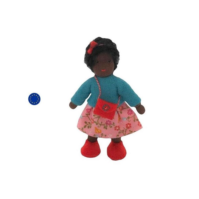 Poupée articulée fille noire, mini poupée flexible waldorf ambrosius