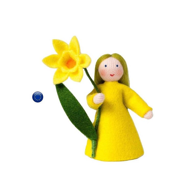 Poupée avec fleur narcisse jonquille, fée pour table de saison waldorf ambrosius